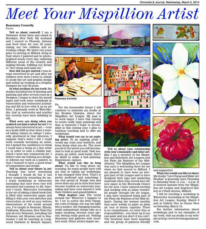 Meet Your MIspillion Art League Artist: Rosemary Connelly