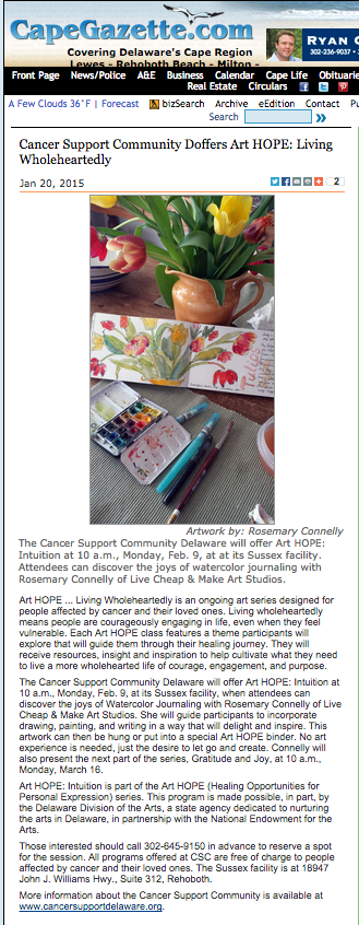 Art HOPE Workshop article