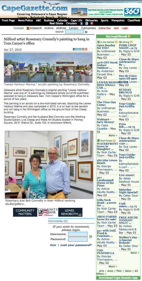 Cape Gazette story about art in Senator Carper's office